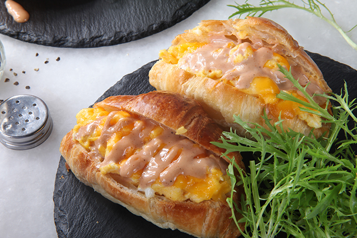 Scrambled Eggs in Croissant AED35